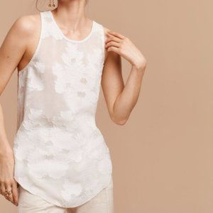 Aritzia wilfred sevres jacquard floral lace sleeveless tank top ogf white xs